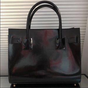 Alberta Di Canio Black Patent Leather Tote Bag
